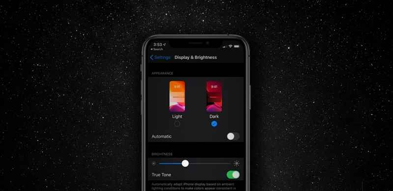 Dark mode on iPhone X